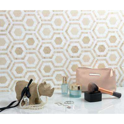 Kosmos Crema and Thassos Hexagon 11-3/4 in. x 11-3/4 in. x 10 mm Polished Marble Mosaic Tile