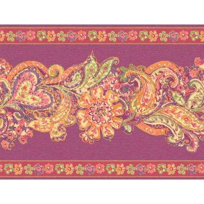 20.5 in. x 15 ft. Pink And Purple Paisley And Petals Border