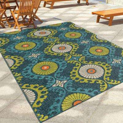 Floating Floral Blue Medallion 8 ft. x 11 ft. Indoor/Outdoor Area Rug