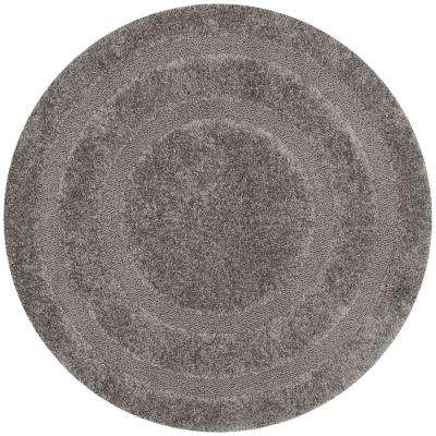 Florida Shag Gray 6 ft. 7 in. x 6 ft. 7 in. Round Area Rug