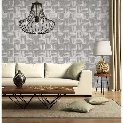 Nomad Collection Hatch in Graphite Removable and Repositionable Wallpaper