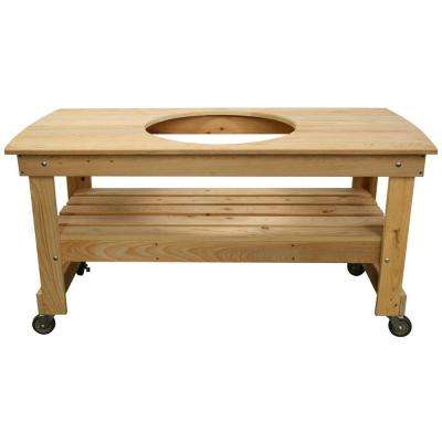 Large Cypress Wood Kamado Table with Centered