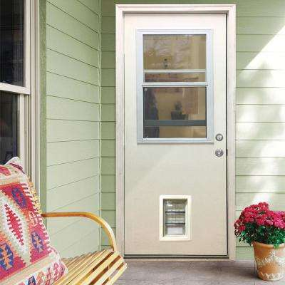 32 in. x 80 in. Classic Clear Vented Half Lite LHIS White Primed Fiberglass Prehung Front Door with Med Pet Door