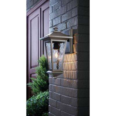 1-Light Oil Rubbed Bronze with Gold Highlights Outdoor 8 in. Wall Lantern Sconce with Clear Water Glass