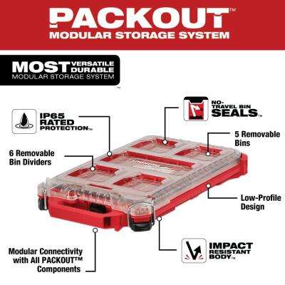 PACKOUT 5-Compartment Low-Profile Compact Small Parts Organizer