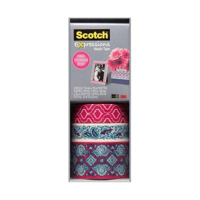 Scotch 0.59 in. x 10.9 yds. Pink Quatrefoil, Mint Flower, Pink Lace Expressions Washi Tape with Storage Box (Case of 36)