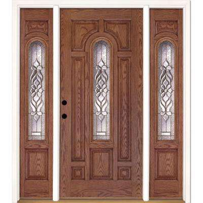 63.5 in. x 81.625 in. Lakewood Brass Center Arch Lite Stained Medium Oak Fiberglass Prehung Front Door with Sidelites