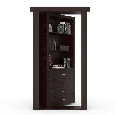 30 in. x 80 in. Flush Mount Assembled Dresser Door Oak Dark Brown Stained Right-Hand Inswing