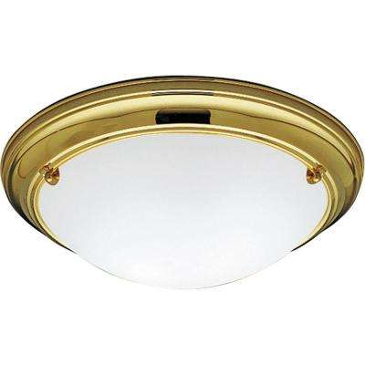 Eclipse Collection 2-Light Polished Brass Flushmount
