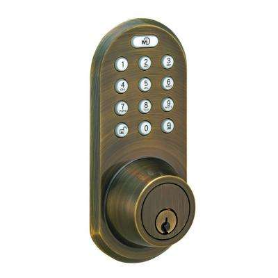 Single Cylinder Antique Brass Touch Pad and Remote Electronic Deadbolt