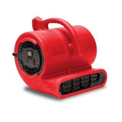 1/3 HP 2530 CFM Air Mover Carpet Dryer Floor Fan for Plumbers, Janitorial and Water Damage Restoration in Red
