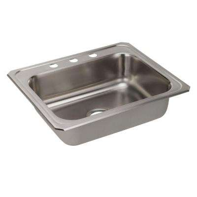 Celebrity Top Mount Stainless Steel 25 in. 3-Hole Single Bowl Kitchen Sink