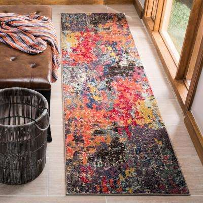Monaco Blue/Orange 2 ft. 2 in. x 8 ft. Runner Rug