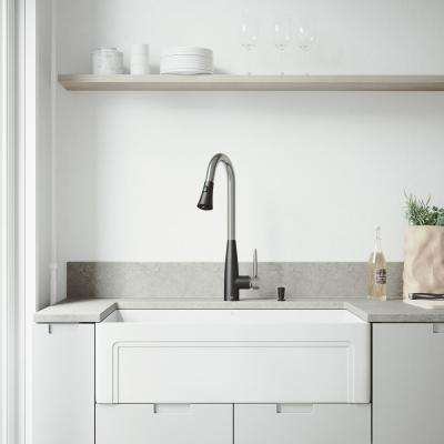 Matte Stone Farmhouse Composite 33 in. 0-Hole Single Bowl Kitchen Sink with 1 Strainer in Matte White