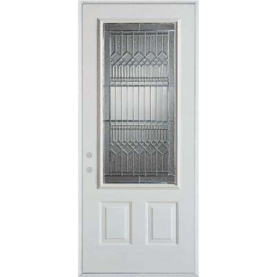 32 in. x 80 in. Lanza Zinc 3/4 Lite 2-Panel Painted White Right-Hand Inswing Steel Prehung Front Door