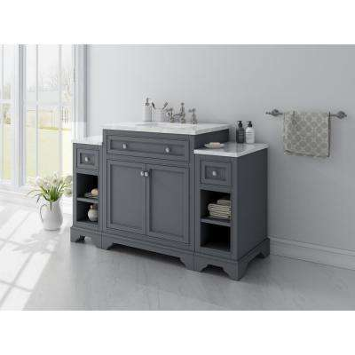 Mornington 30 in. W x 21 in. D Single Bath Vanity in Grey with Marble Vanity Top in White with White Sink