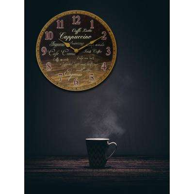 Morning Brew 13.5 in. x 13.5 in. Round Wall Clock