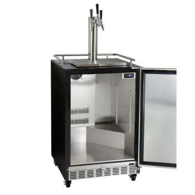 Digital Commercial Undercounter Full Size Beer Keg Dispenser with X-CLUSIVE 3-Tap Commercial Direct Draw Kit Left Hinge