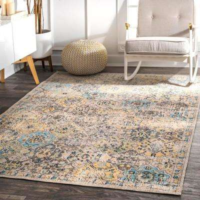Delilah Distressed Moroccan Tiles Beige 5 ft. x 8 ft.  Area Rug