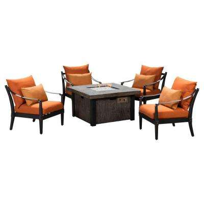 Astoria 5-Piece Fire Pit Chat Set with Tikka Orange Cushions
