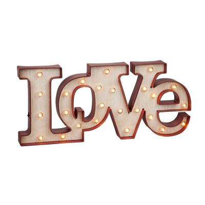9.5 in. H Battery Operated Lighted Red Plastic LOVE Sign