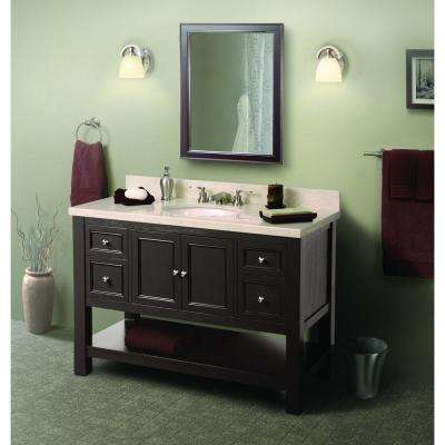 Gazette 61 in. W Vanity in Espresso with Granite Vanity Top in Beige and Single Bowl in White