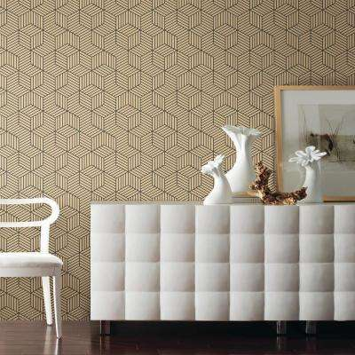 28.18 sq. ft. Stripped Hexagon Gold/Black Peel and Stick Wallpaper