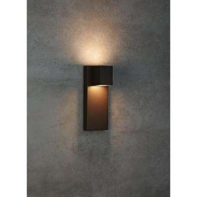 Quadrate 1-Light Bronze Outdoor 13 in. Integrated LED Wall Mount Sconce