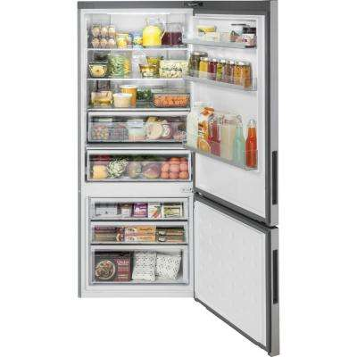 28 in. W 15.0 cu. ft. Bottom Freezer Refrigerator in Stainless Steel