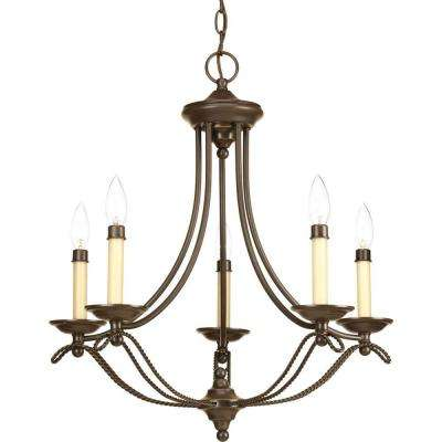 Avalon Collection 5-Light Antique Bronze Chandelier