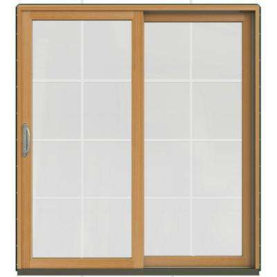 71-1/4 in. x 79-1/2 in. W-2500 Hartford Green Prehung Right-Hand Clad-Wood Sliding Patio Door with 8-Lite Grids