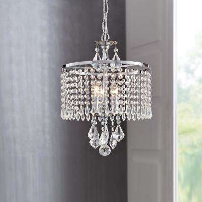 Calisitti 3-Light Polished Chrome Mini-Chandelier with K9 Hanging Crystals