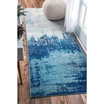 Alayna Abstract Blue 3 ft. x 8 ft. Runner Rug