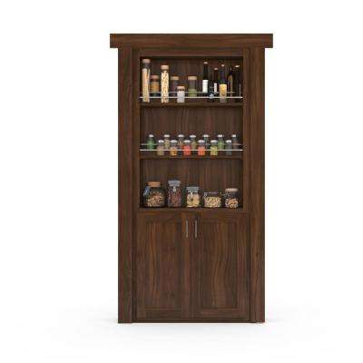 36 in. x 80 in. Flush Mount Assembled Forward Pantry Door Walnut Medium Stained Left-Hand Inswing