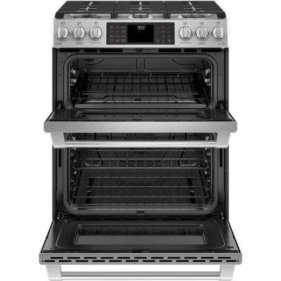 Cafe 6.7 cu. ft. Slide-In Double Oven Smart Gas Range with Self-Cleaning Convection Oven in Stainless Steel