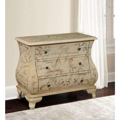 Hand-Painted Script 3-Drawer Wood Cabinet in Tan