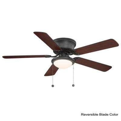 Hugger 52 in. LED Indoor Black Ceiling Fan