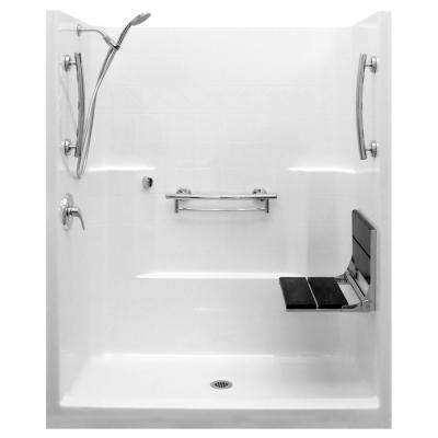 Imperial-SAFS 33 in. x 60 in. x 77 in. 1-Piece Low Threshold Shower Stall Package in White, LHS Shower Kit, Center Drain