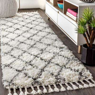 Mercer Shag Plush Tassel Moroccan Geometric Trellis Cream/Grey 2 ft. x 8 ft. Runner Rug