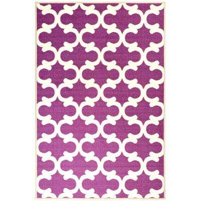 Pink Collection Contemporary Moroccan Trellis Design Purple 3 ft. 3 in. x 5 ft. Area Rug