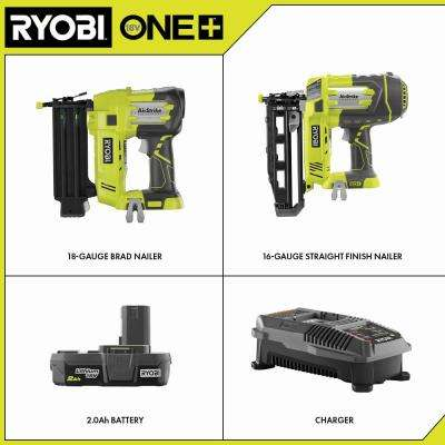 18-Volt ONE+ 18-Gauge Cordless AirStrike Brad Nailer with 16-Gauge Straight Finish Nailer, 2.0 Ah Battery and Charger