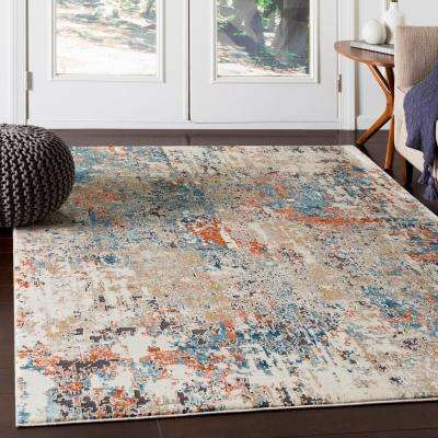 Zehra Teal/Orange 6 ft. 7 in. x 9 ft. 6 in. Distressed Area Rug
