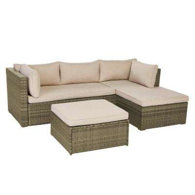 Valley Peak 3-Piece All-Weather Gray Wicker Sectional Outdoor Patio Set with Beige Cushions