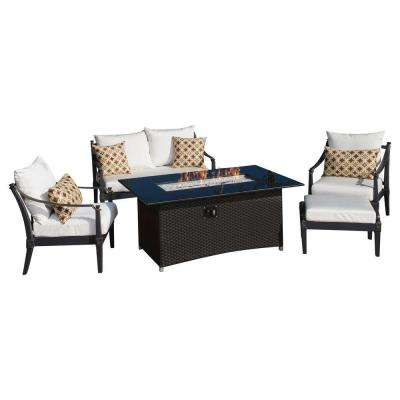Astoria 5-Piece Love and Club Patio Fire Pit Seating Set with Moroccan Cream Cushions