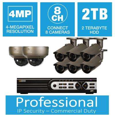 8-Channel 4MP IP Indoor/Outdoor Surveillance 2TB NVR System with (6) 4MP Bullet Cameras and (2) Dome Cameras