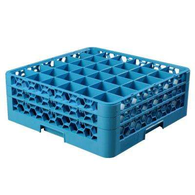 19.75x19.75 in. 36-Compartment 2 Extenders Glass Rack (for Glass 4.19 in. Diameter, 6.34 in. H) in Blue (Case of 3)