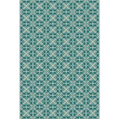 Washable Floral Tiles Teal 4 ft. x 6 ft. Stain Resistant Area Rug