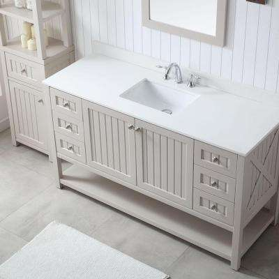 Seal Harbor 60 in. W x 22 in. D Vanity in Sharkey Grey with Quartz Vanity Top in Pure White with White Basin