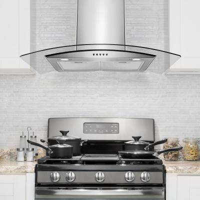 30 in. 250 CFM Convertible Kitchen Wall Mount Range Hood in Stainless Steel with Tempered Glass