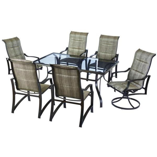 Hampton Bay Statesville 7 Piece Padded Sling Patio Dining Set FCS70357 ST 1    The Home Depot